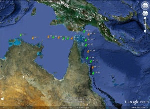 Sites from which DNA samples were collected during the Southern Surveyor cruise from Darwin to Cairns