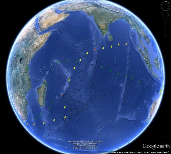 Indigo V voyage path in yellow, GOS voyage path in green
