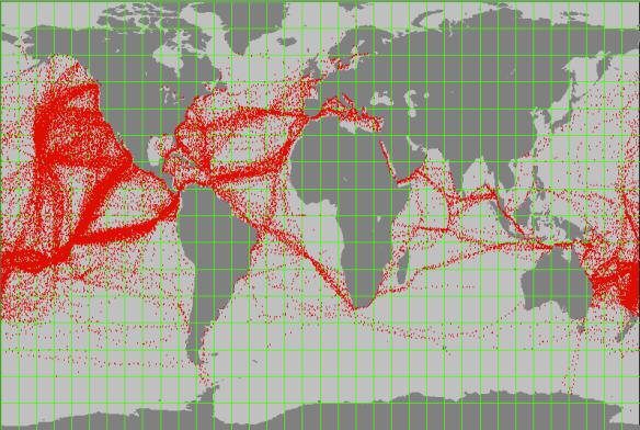 Each red dot represents on report of a yacht undertaking an ocean cruise (source http://www.pangolin.co.nz/ocean_passages)