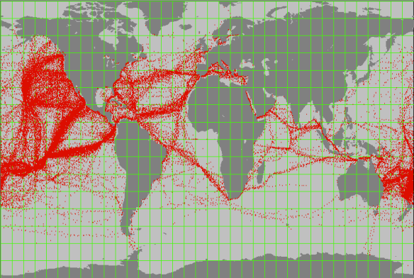 Each red dot represents on report of a yacht undertaking an ocean cruise (source http://www.pangolin.co.nz/ocean_passages)
